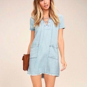 Lulus Awayday Blue Chambray Lace-Up Shift Dress